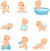 Happy smiling baby. Cute cartoon toddlers vector set
