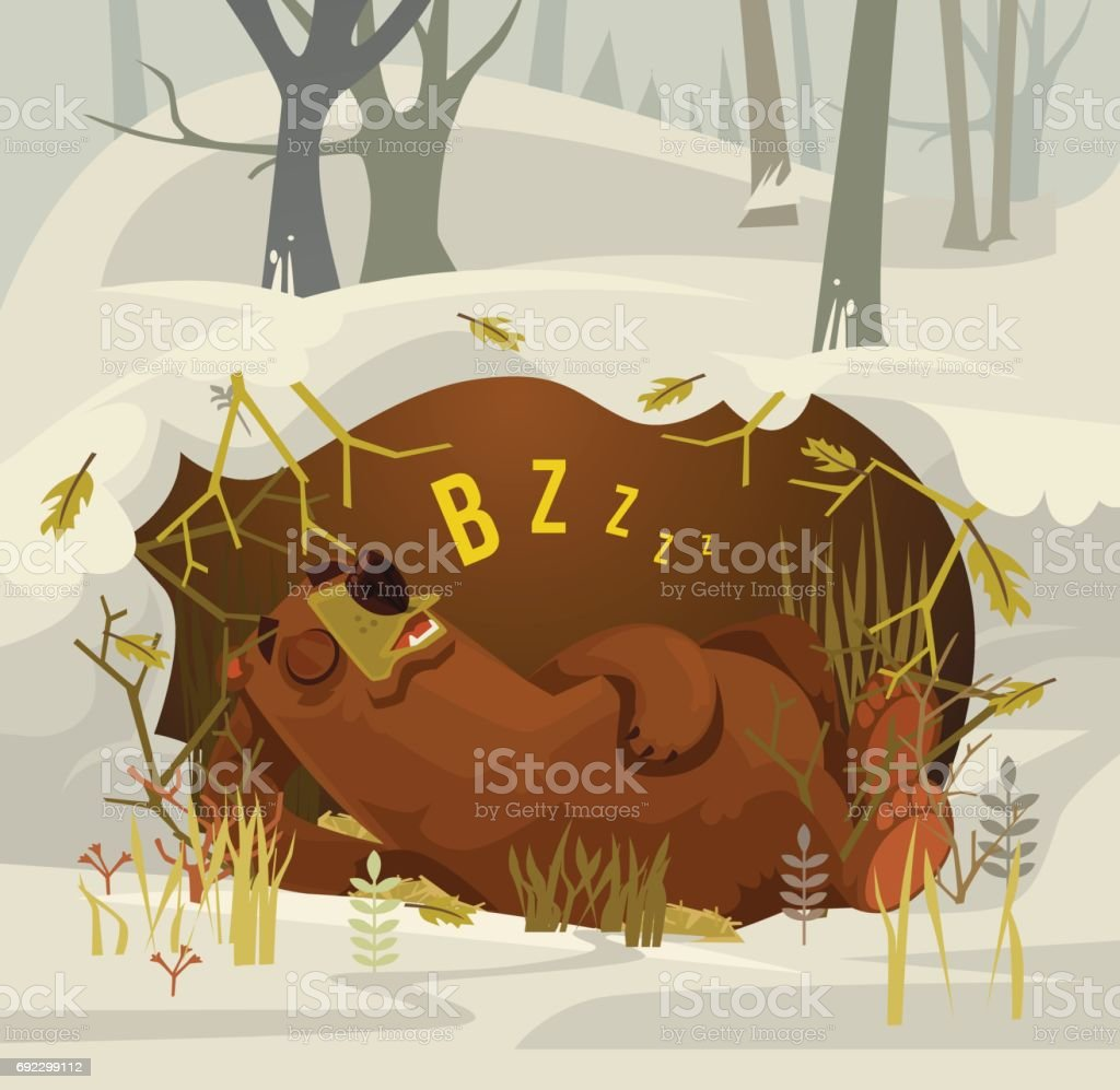 Happy smiling bear character mascot sleeping and resting in his cave vector art illustration