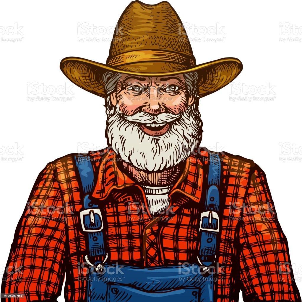 Happy smiling bearded farmer in hat vector art illustration