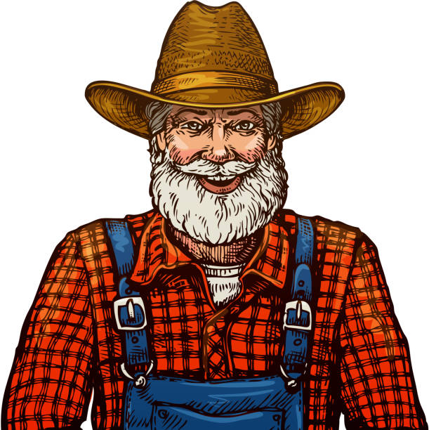 happy smiling bearded farmer in hat - old man smiling backgrounds stock illustrations, clip art, cartoons, & icons