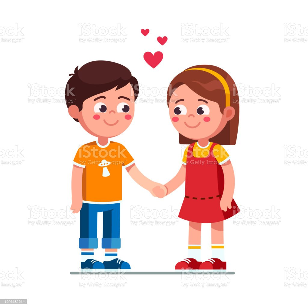 Love Each Other Cartoon: Happy Smiling Boy And Girl Kids Holding Hands And Looking