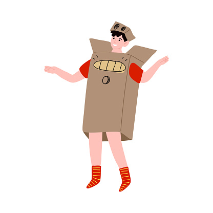 Happy smiling boy character in a robot costume made from the cardboard box. Vector illustration in cartoon style.