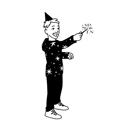 Happy smiling boy in festive cup and hoodie with stars holds Sparkler in his hand. Concept. Vector illustration of cute boy with magic wand isolated on white background. Hand drawn sketch. New Year, Christmas, holiday.