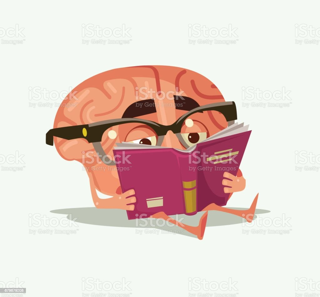 Happy smiling brain character read book vector art illustration