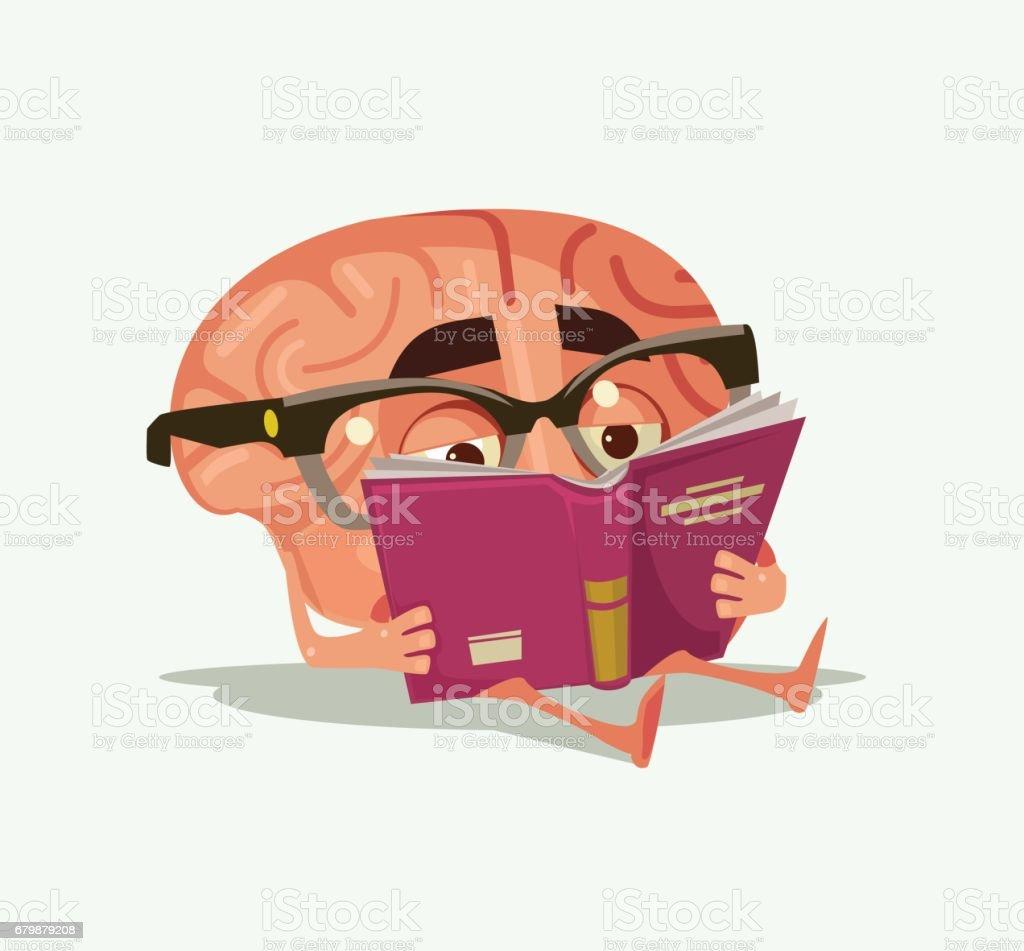 Happy smiling brain character read book vector art illustration