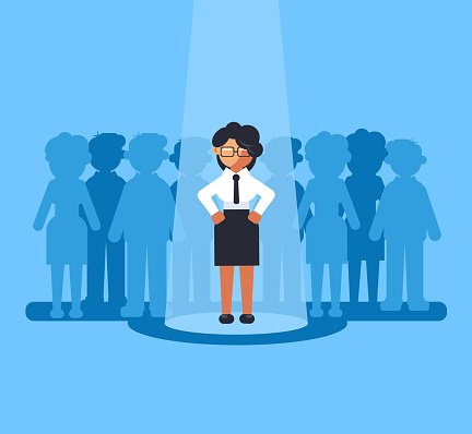 Happy Smiling Business Woman Businesspeople Office Worker Manager Person Job Candidate Selected Choose Recruitment Hunter Hire Hr Human Resources Career Staff Concept Vector Flat Cartoon Graphic Design Isolated Illustration Stock Illustration - Download Image Now