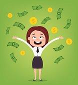 Happy smiling businessman office worker character standing under money rain. Rich man. Good salary. Vector flat cartoon illustration