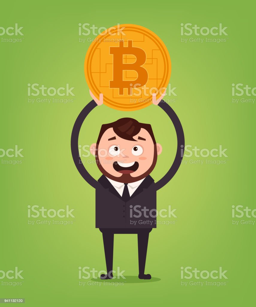 Happy Smiling Businessman Office Worker Manager Character Holding