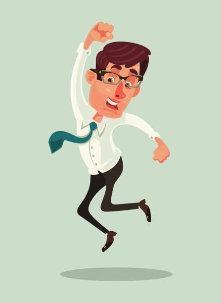 Happy smiling businessman office worker mascot character jump Happy smiling businessman office worker mascot character jump. Vector flat cartoon illustration bonus march stock illustrations