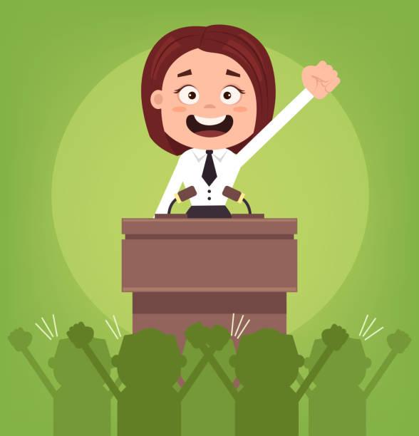 ilustrações, clipart, desenhos animados e ícones de feliz sorridente empresário escritório trabalhador político mulher personagem falando de rostro - político