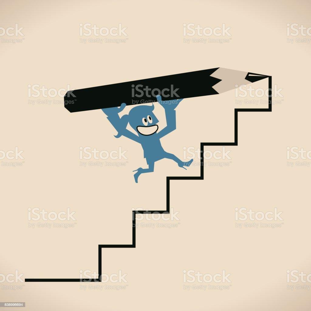 Heureux souriant femme (femme, fille) tenue grand crayon, dessiner des escaliers vers le haut, marche à pied (en cours d'exécution) sur l'échelle. Chemin vers le succès - Illustration vectorielle