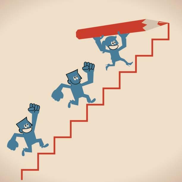 Heureux souriant femme (femme, fille) tenue grand dessin au crayon, escalier vers le haut, team leader, marche (en cours d'exécution) sur l'échelle. Chemin vers le succès - Illustration vectorielle