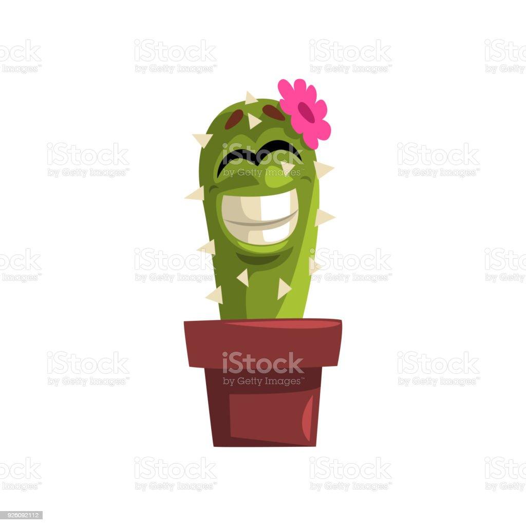 Heureux Caractere Souriant De Cactus Avec Fleur Rose Plante