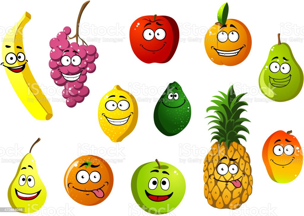 Happy smiling cartoon fruits characters vector art illustration