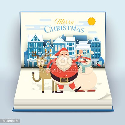 Happy smiling cartoon santa, deer and snowman waving hands in cute town street scene on a blank open pop up book. Christmas holiday decorations. Snowfall on Christmas eve. Snowy Xmas vector illustration