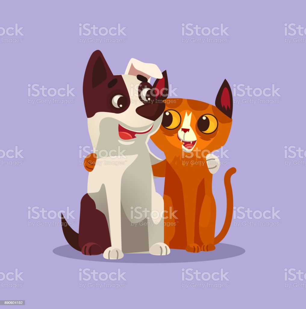 Happy smiling cat and dog characters best friends vector art illustration