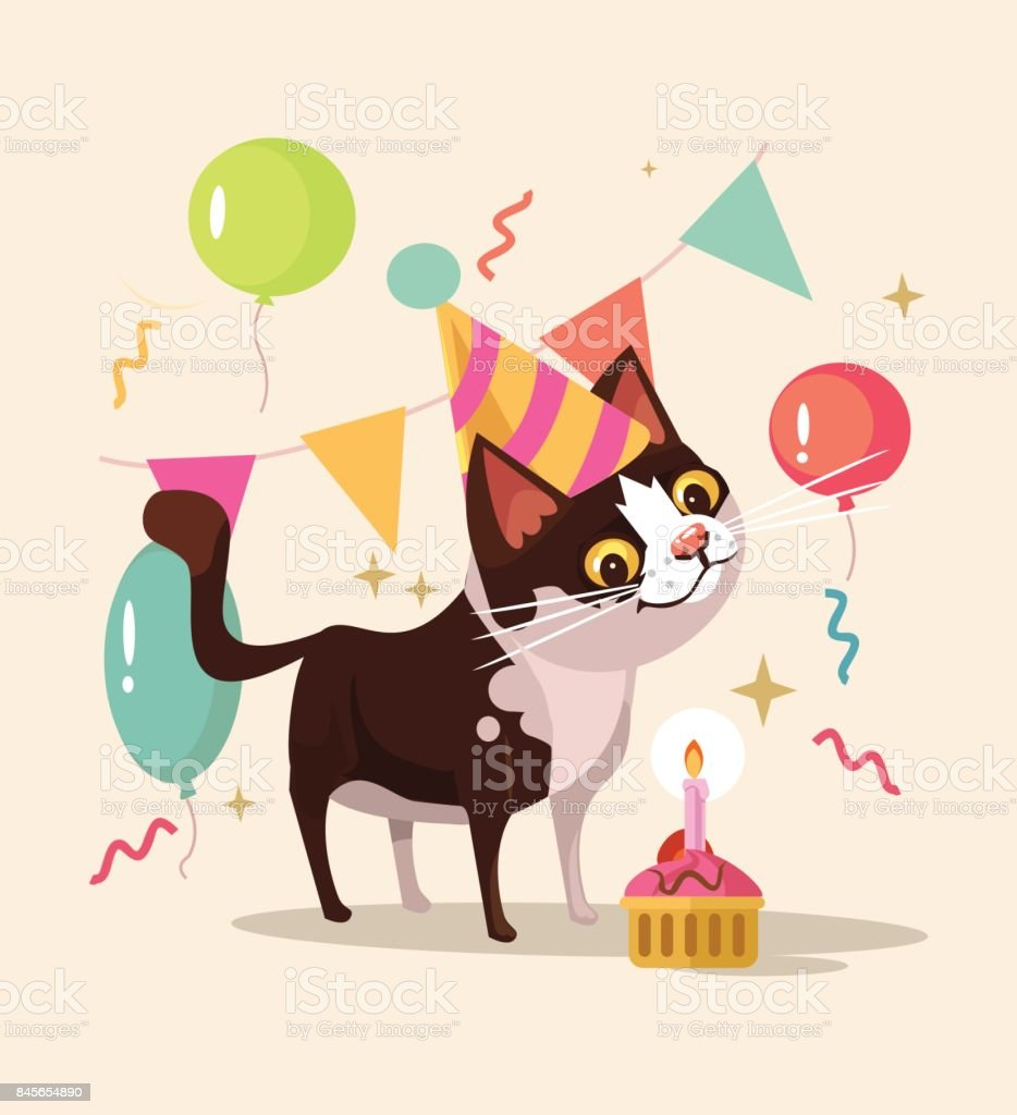 Happy smiling cat character celebrates birthday vector art illustration