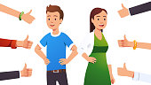 Happy smiling cheerful couple man & woman surrounded by thumbs up gesturing hands. Social approval, positive feedback and acceptance success concept. Flat style vector character isolated illustration