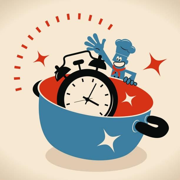 Happy smiling chef with a big pot and a big alarm clock vector art illustration