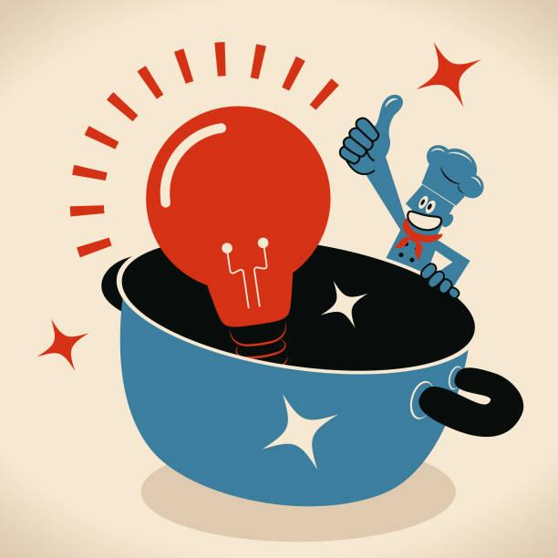 Happy smiling chef with a big pot and a big idea light bulb vector art illustration