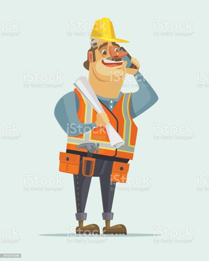 Happy smiling construction worker foreman boss man talking on mobile phone vector art illustration