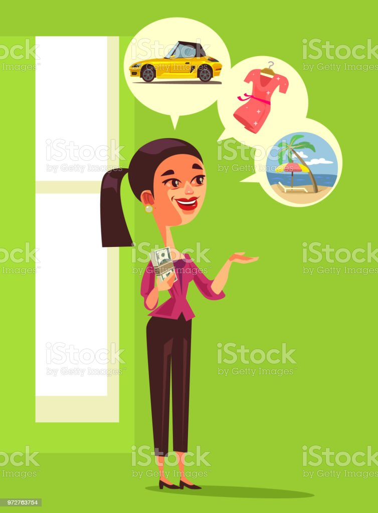 Happy smiling consumer woman character holding money dollars currency and dreaming about purchases house, car and vacation. Financial prosperity success salary profit flat cartoon design graphic isolated illustration vector art illustration