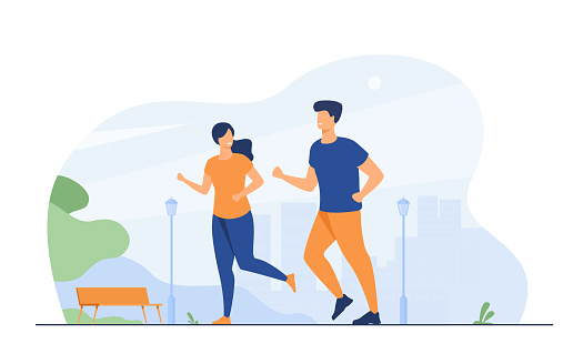 Happy smiling couple running at summer park