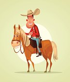 Happy smiling cowboy sheriff character ride horse