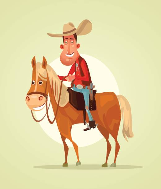 Happy smiling cowboy sheriff character ride horse Happy smiling cowboy sheriff character ride horse. Vector flat cartoon illustration rancher illustrations stock illustrations