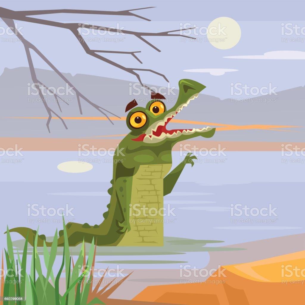 b422a1140 Feliz personagens jacaré crocodilo sorrindo, olhando para fora da água  vetores de feliz personagens jacaré