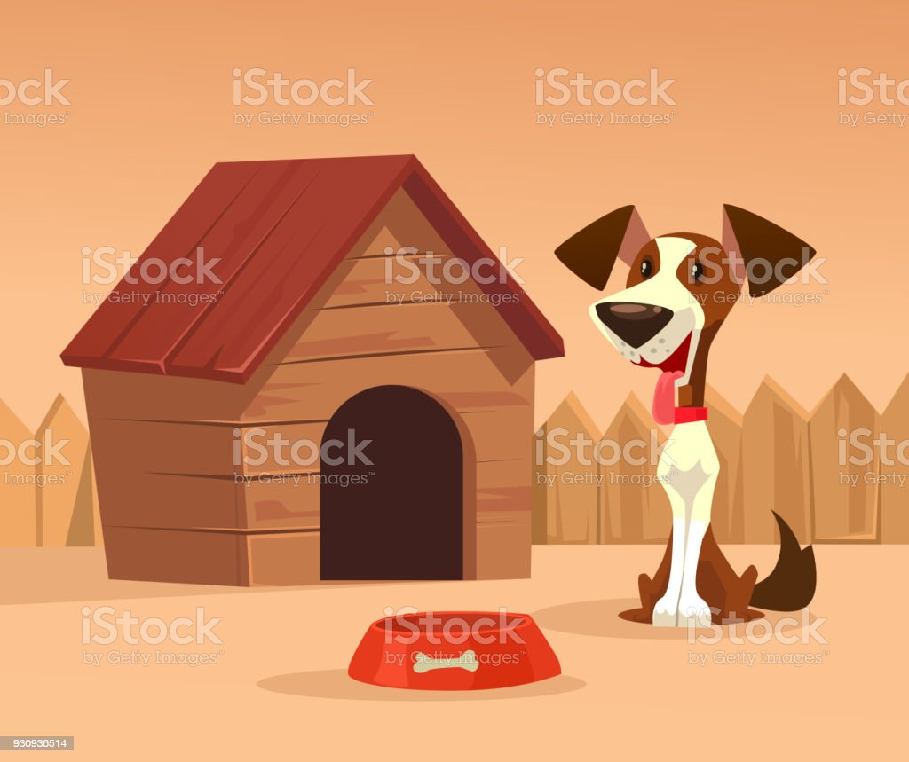 Happy smiling dog character guards house vector art illustration