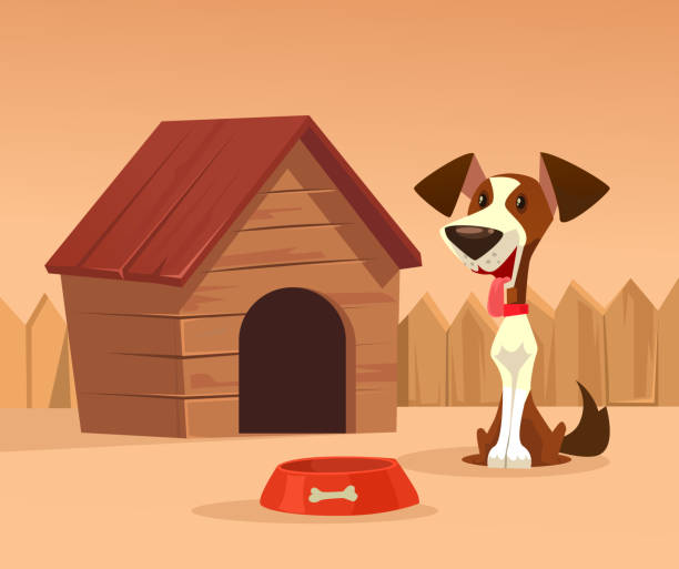 Happy smiling dog character guards house Happy smiling dog character guards house. Vector cartoon illustration arguing stock illustrations