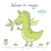 Happy Smiling Dragon Cartoon Character. Vector illustration.