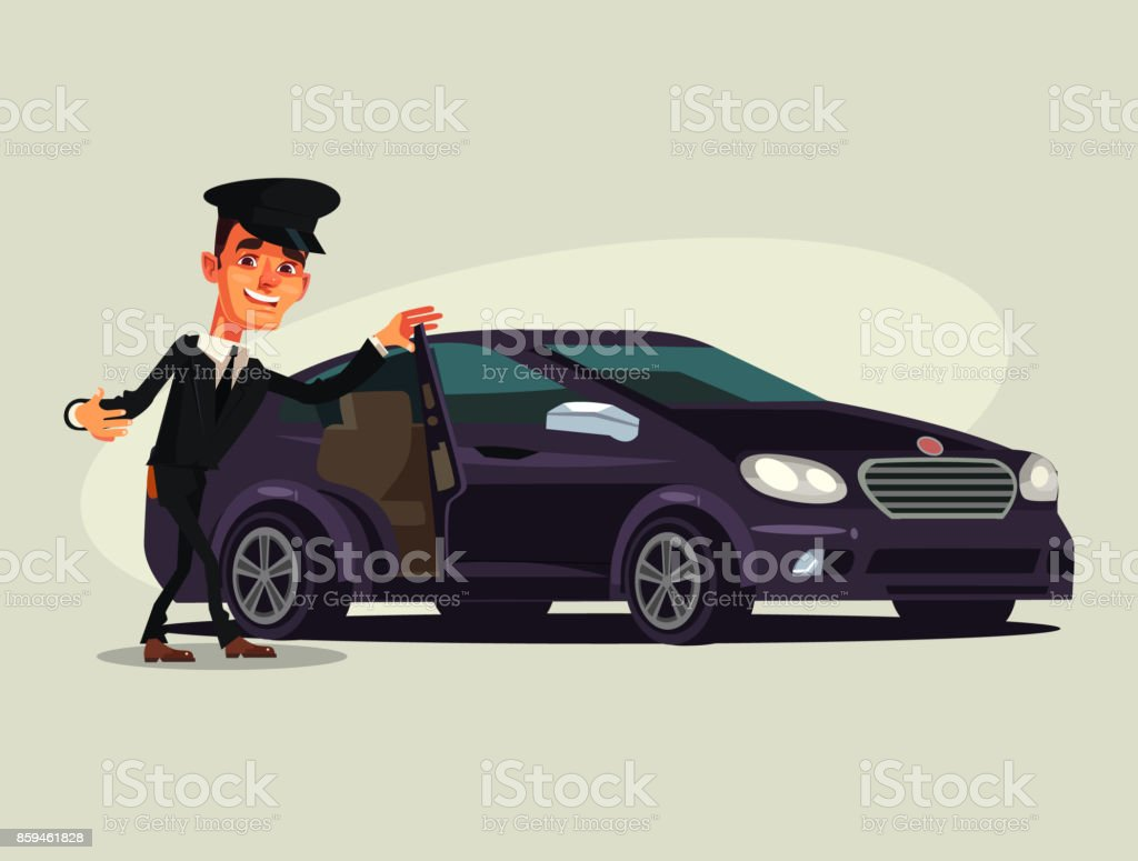 Happy smiling driver man character invite in taxi car premium luxury class vector art illustration