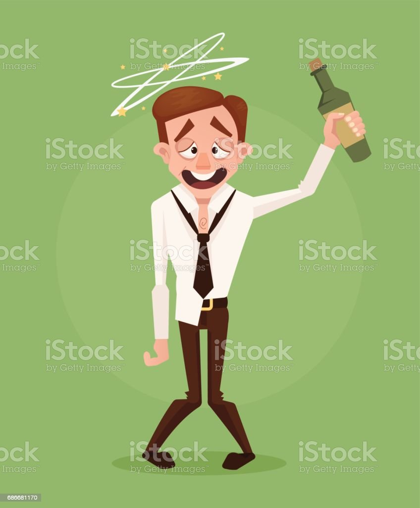 Happy smiling drunk businessman office worker character