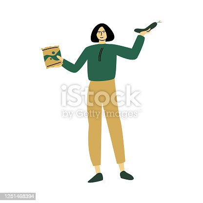 Happy smiling eco volunteer woman in green shirt stands with eco packages of healthy food. Vector illustration in cartoon style.