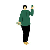 Happy smiling eco volunteer woman standing in a green shirt. Vector illustration in cartoon style.