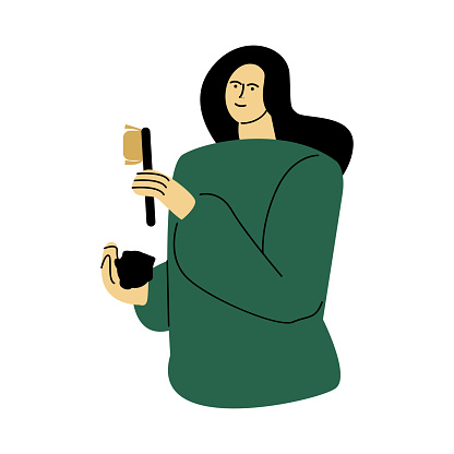 Happy smiling eco volunteer woman standing in a green shirt with a brush. Vector illustration in cartoon style.