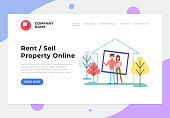 Happy smiling family buying house. Sale and rent property. Vector flat cartoon graphic design banner poster
