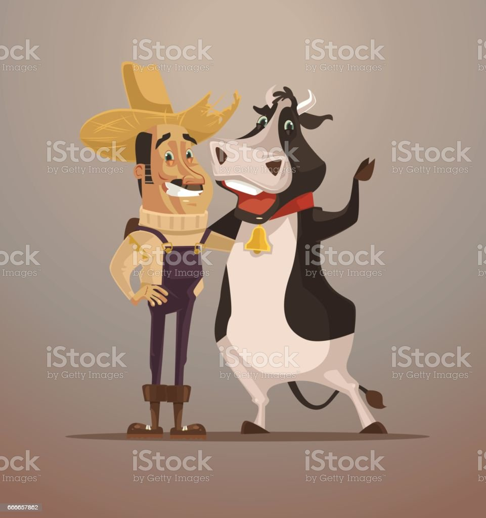 Happy smiling farmer man character hug cow. Best friends. Extreme sport
