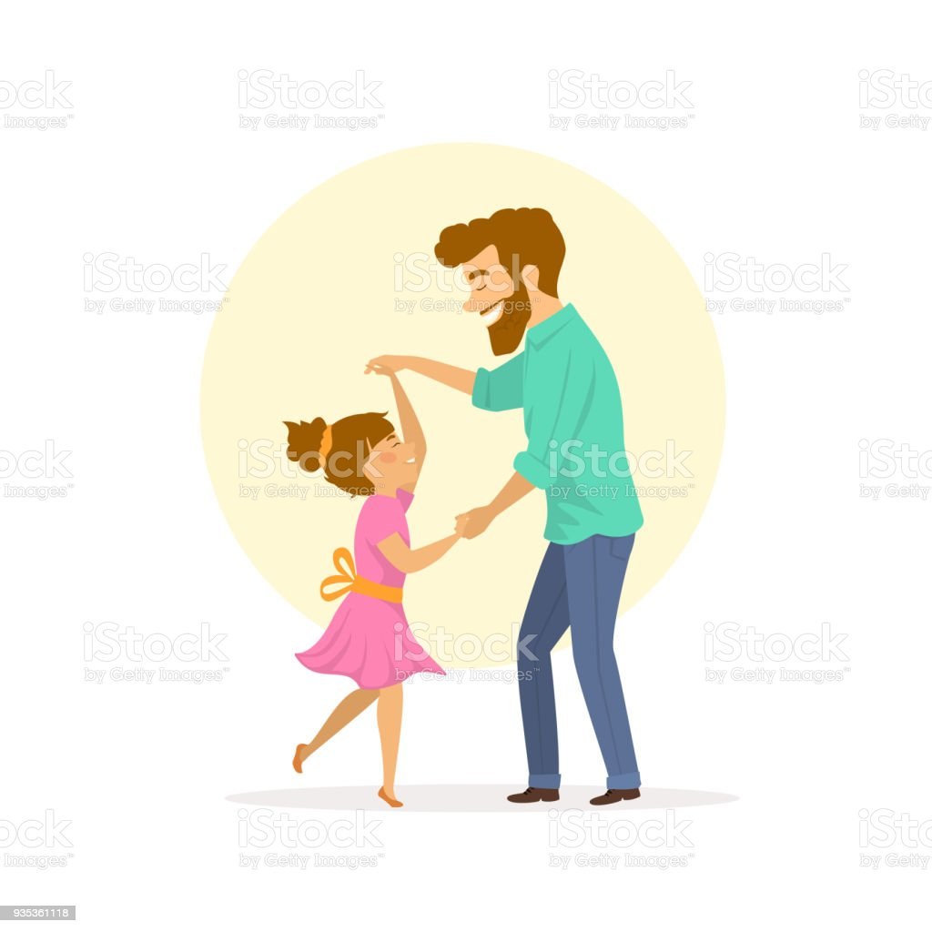 happy smiling father and daughter dancing vector art illustration
