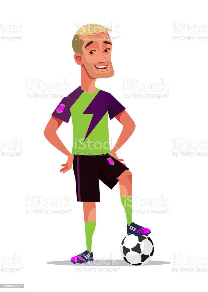 Glücklich lächelnd Fußball Spieler Charakter Maskottchen stehen mit Ball. Beliebten Spielkonzept isoliert flache Cartoon Grafikdesign illustration - Lizenzfrei Amerikanischer Football Vektorgrafik