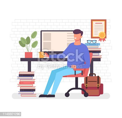 Happy smiling freelance worker man character sitting at computer drinking coffee and relax. Home workplace workspace concept. Vector flat cartoon graphic design