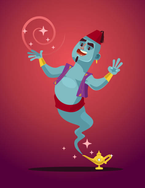 Happy smiling Genie man mascot character from magic lamp vector art illustration