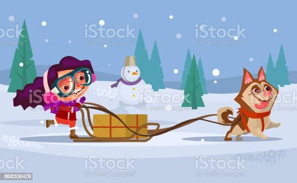 Happy smiling girl child character riding dog husky sled winter vector id868306426?b=1&k=6&m=868306426&s=612x612&h=8uzj4di q1uv62 9mfytsrjojqujhnxhxukrlvqxuu0=