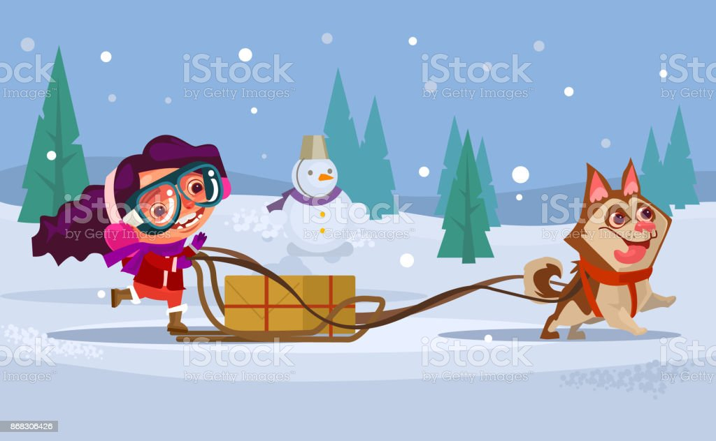 Happy smiling girl child character riding dog husky sled. Winter holiday concept vector art illustration
