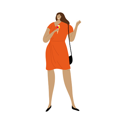 Happy smiling girl in red dress eating ice cream. Vector illustration in flat cartoon style.