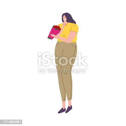 Black-haired happy smiling girl standing in a yellow t-shirt holding a bouquet of flowers. Beautiful red roses. Isolated vector illustration on white background in cartoon style.