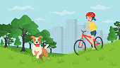 Happy smiling girl walking with a dog in a city park. Concept summer bike ride out of town with a pet. Active weekend in the fresh air. The dog from the shelter is the best friend.Cartoon flat vector illustration