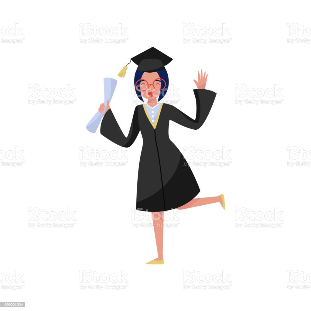 Happy Smiling Graduate Girl In Graduation Gown Holding Diploma In ...